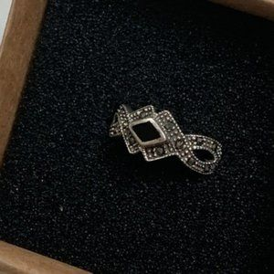 Jewelry - Sterling Silver Marcasite Onyx Ring New Size 7